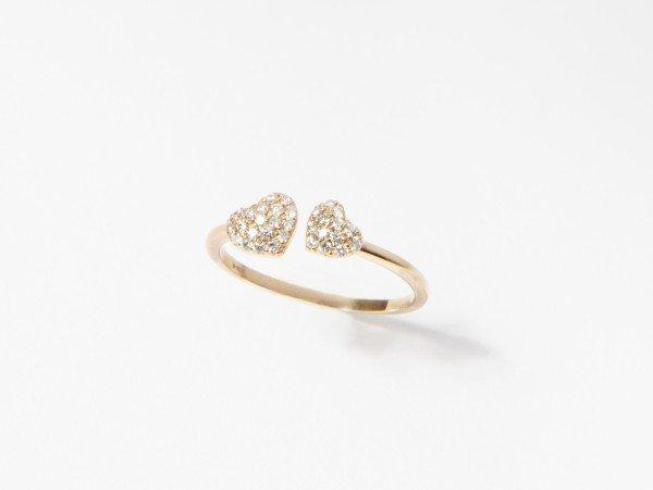 Anello in oro rosa con doppio cuore in brillanti - Ivy Gioielli Prato