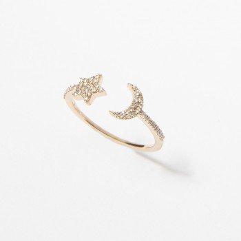 Anello in oro rosa con stella e luna di brillanti - Ivy Gioielli Prato