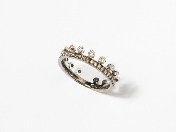 Anello veretta modello corona con brillanti - Ivy Gioielli Prato