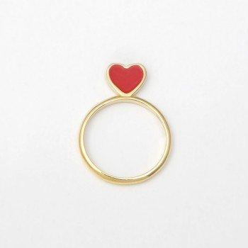 Anello in argento con cuore in smalto rosso - Ivy Gioielli Prato