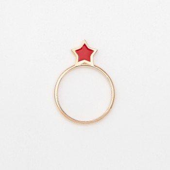 Anello in argento con stella in smalto rosso - Ivy Gioielli Prato