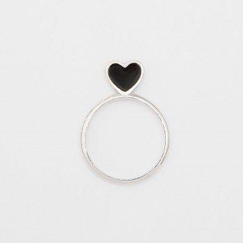 Anello in argento con cuore in smalto nero - Ivy Gioielli Prato