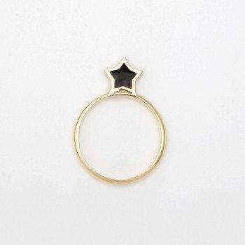 Anello in argento con stella in smalto nero - Ivy Gioielli Prato