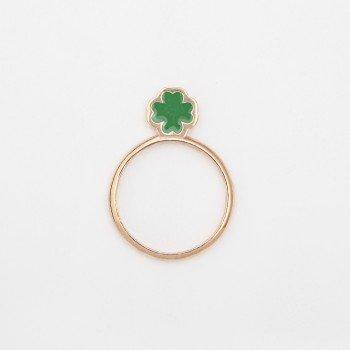 Anello in argento con quadrifoglio in smalto verde - Ivy Gioielli Prato