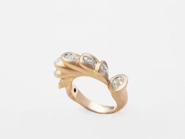 Anello da mignolo in oro rosa satinato con brillanti - Ivy Gioielli Prato