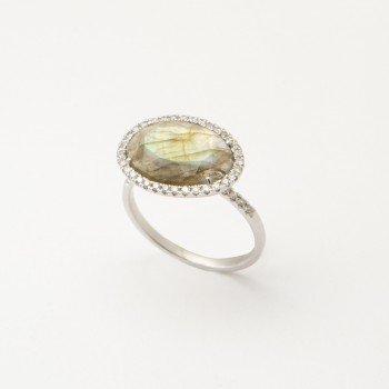 Anello in oro bianco satinato con Labradolite e brillanti laterali - Ivy Gioielli Prato