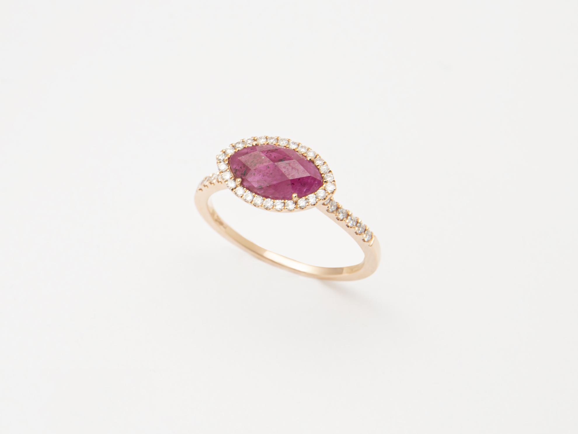 Anello in oro rosa con Rubino grezzo e brillanti - Ivy Gioielli Prato