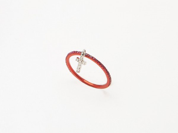 Anello veretta in oro bianco rodiata rossa con Rubini e croce pendente in Brillanti - Ivy Gioielli Prato