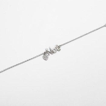 Bracciale in argento con messaggio NOI e cuore in zirconi - Ivy Gioielli Prato