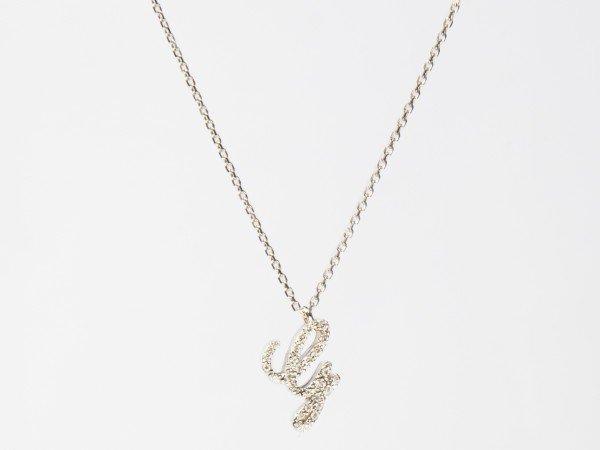 Collana in oro bianco con iniziale in brillanti bianchi - Ivy Gioielli Prato