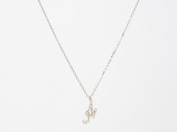 Collana in oro bianco con iniziale A in brillanti bianchi - Ivy Gioielli Prato