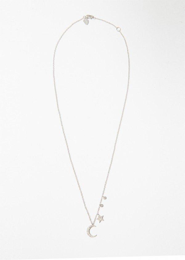 Collana in oro bianco con luna e stella pendenti i brillanti - Ivy Gioielli Prato