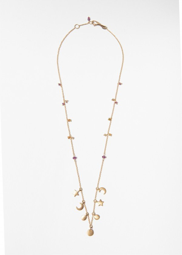 Collana in oro rosa satinato con pendenti motivo stelle e cerchi - Ivy Gioielli Prato