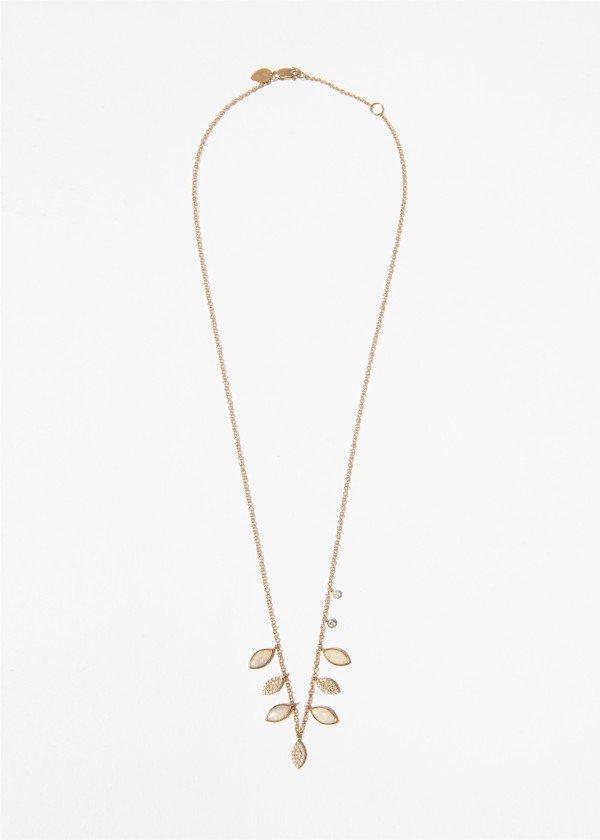 Collana in oro rosa con foglie in brillanti opali verdi pendenti - Ivy Gioielli Prato