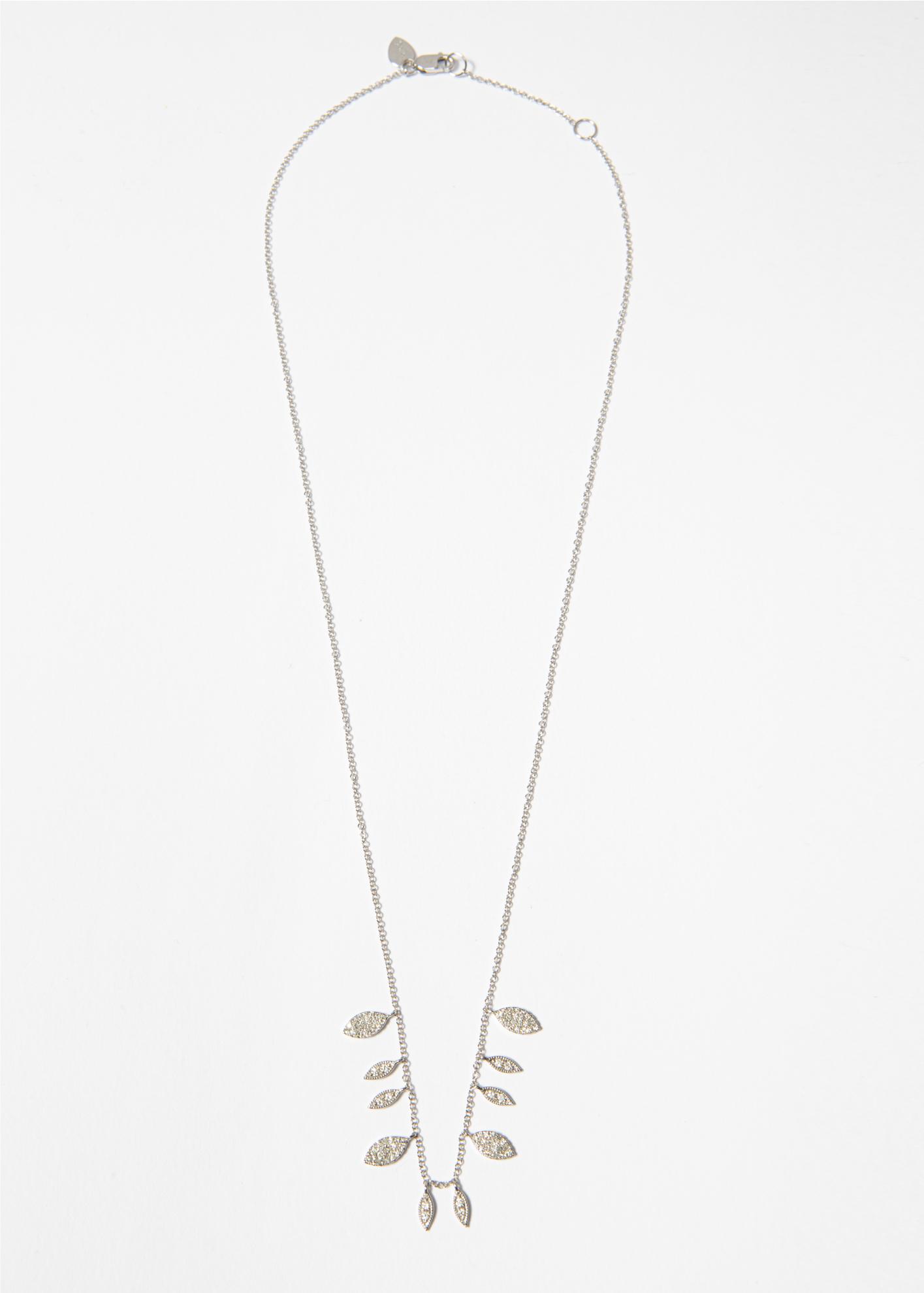 Collana in oro bianco con foglie pendenti in brillanti - Ivy Gioielli Prato