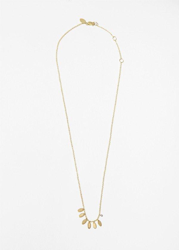 Collana in oro rosa satinato con piccole foglie pendenti e brillante - Ivy Gioielli Milano
