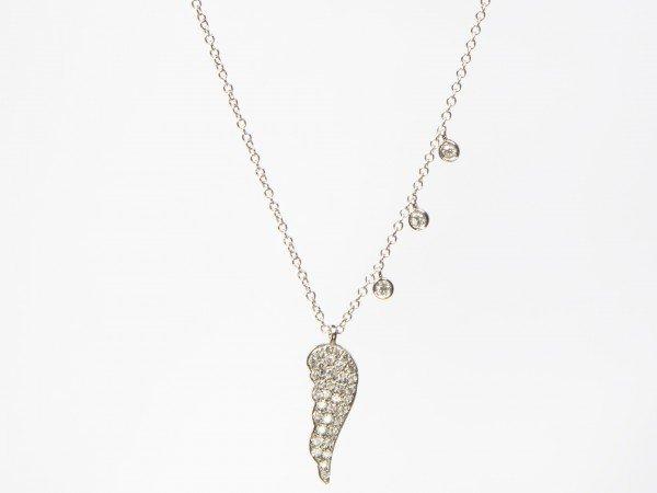 Collana in oro bianco lucido con Ala pendente in brillanti - Ivy Gioielli Prato