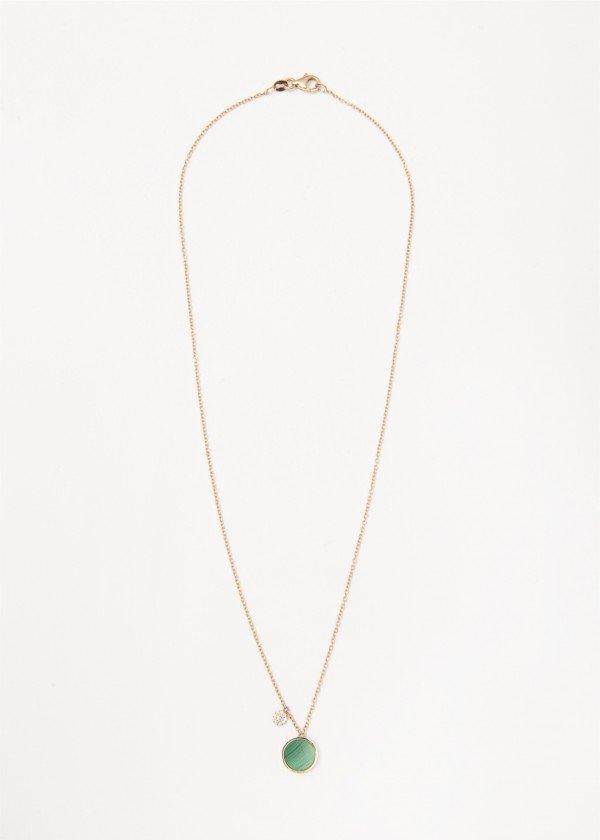 Collana in oro rosa lucido con pendente in malachite e pavé di brillanti - Ivy Gioielli Prato