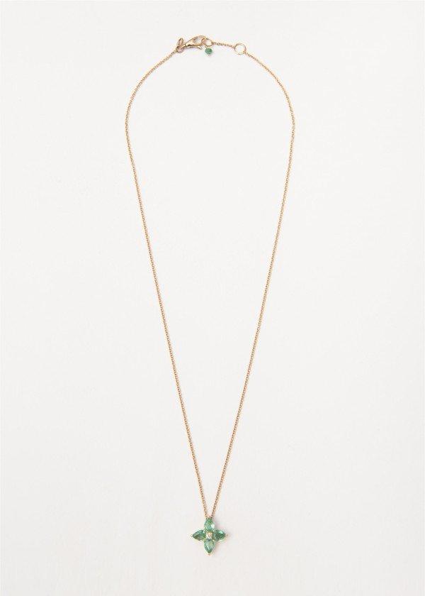 Collana in oro rosa lucido con fiore pendente di Smeraldi e brillante - Ivy Gioielli Prato