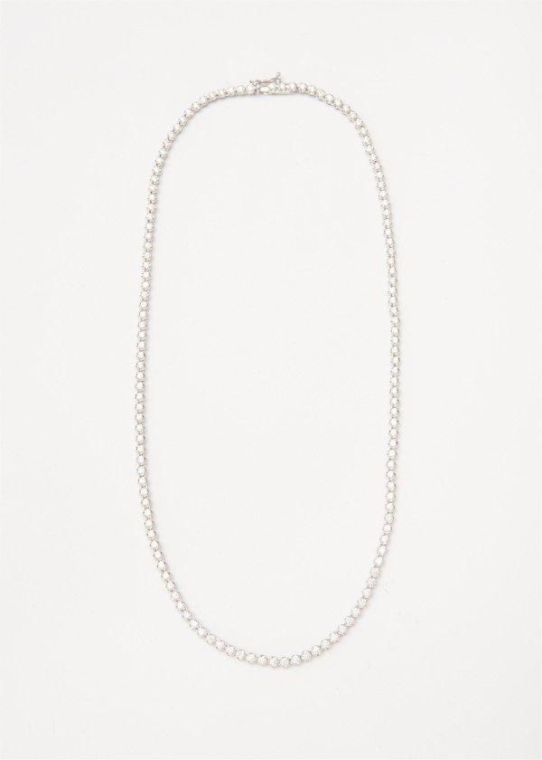 Collana modello Tennis in oro bianco lucido con brillanti - Ivy Gioielli Prato