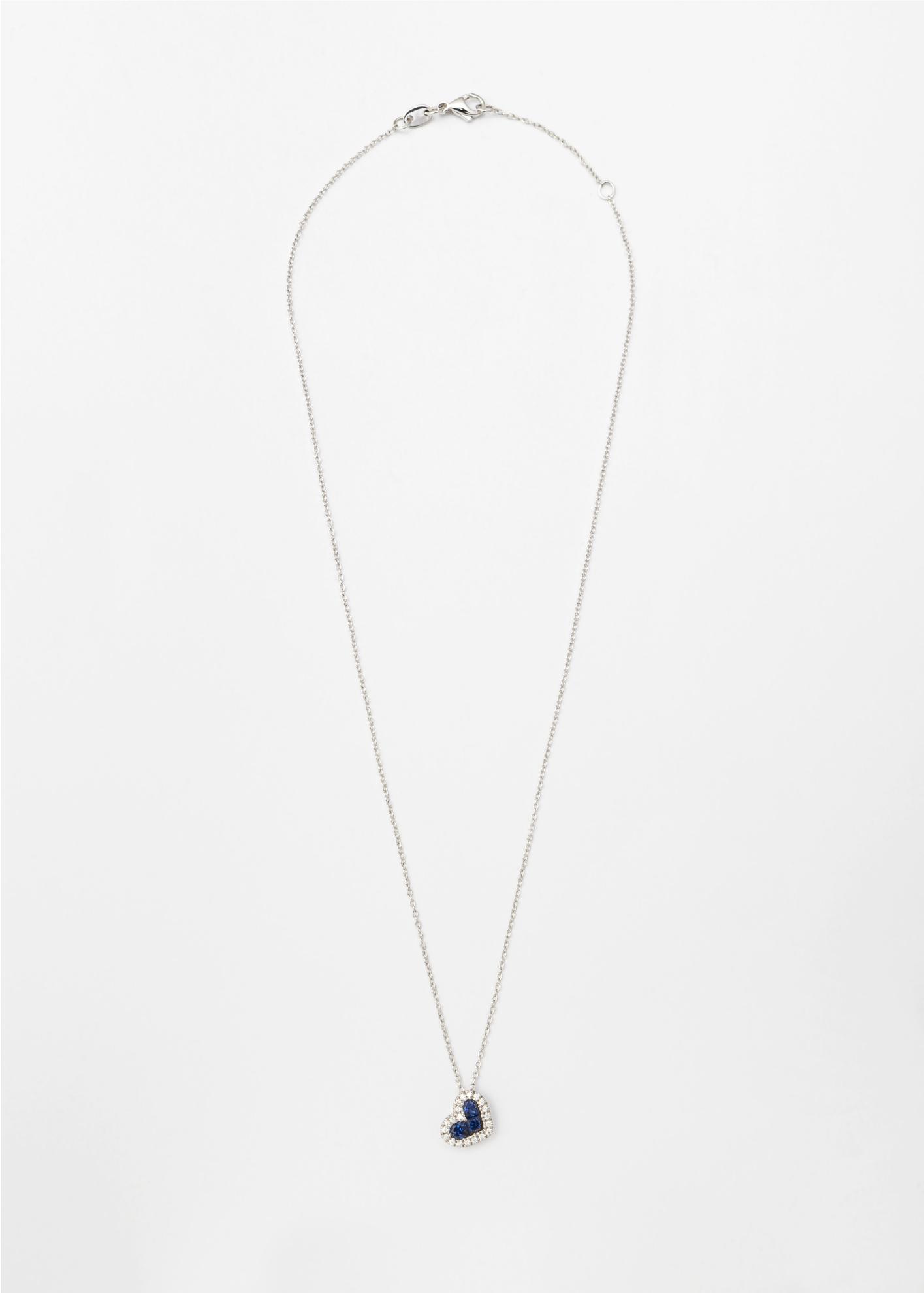 Collana in oro bianco con cuore pendente in Zaffiri Blu e brillanti - Ivy Gioielli Prato