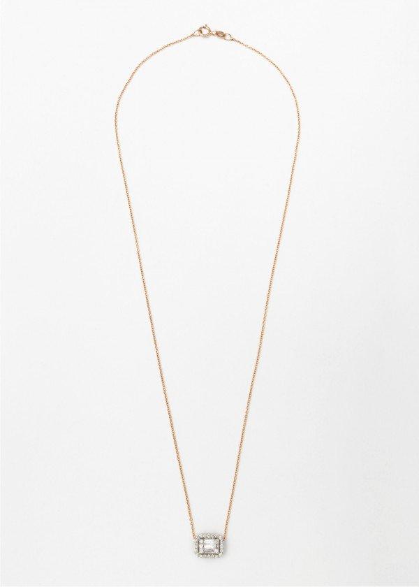Collana in oro rosa lucido con pendente in brillanti e brillanti baguette - Ivy Gioielli Prato