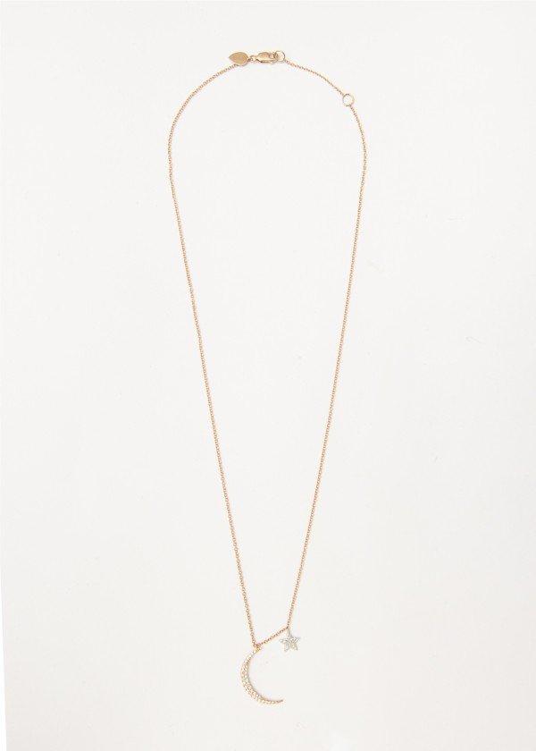 Collana in oro rosa lucido con luna e stella pendente in brillanti - Ivy Gioielli Prato