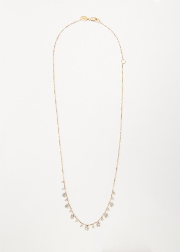 Collana in oro rosa lucido con piccoli pendenti fantasia di brillanti - Ivy Gioielli Prato