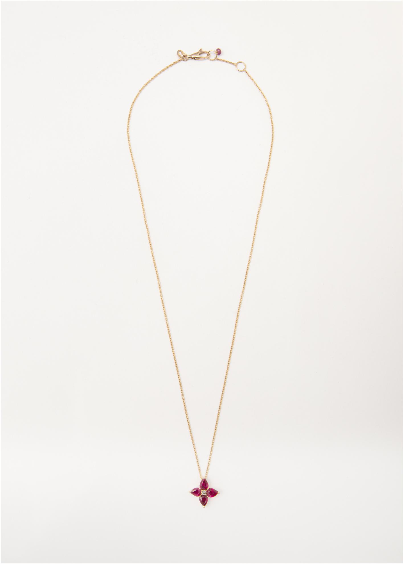 Collana in oro lucido con fiore pendente in Rubini e brillante - Ivy Gioielli Prato