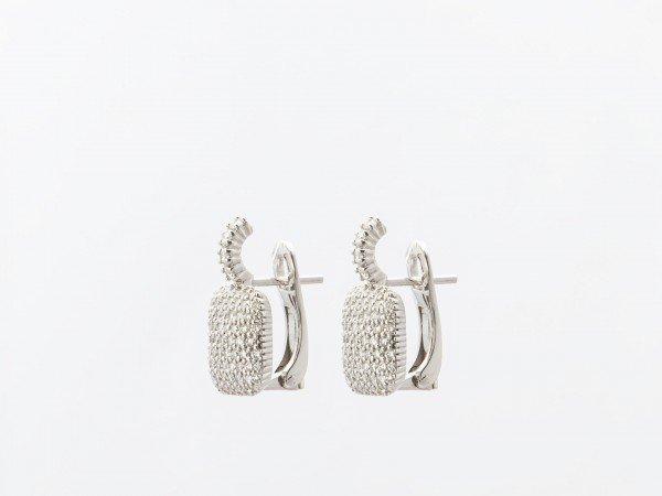 Orecchini in oro bianco lucido con pavé di brillanti - Ivy Gioielli Prato
