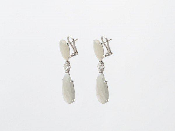 Orecchini in oro bianco con pendenti e brillanti - Ivy Gioielli Prato