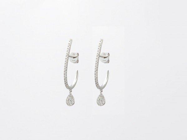 Orecchini ovali in oro bianco con brillanti e mini pendente - Ivy Gioielli Prato